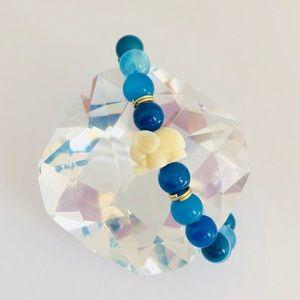 Handmade Blue Lucky Elephant Beaded Bracelet
